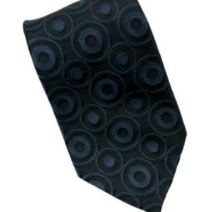 Van Heusen Blue and Black Geometric Circles Tie